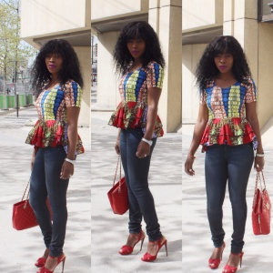 Ankara top and jeans